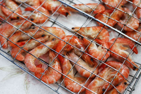 Freshwater prawn seafood. Preparation for a grill photo