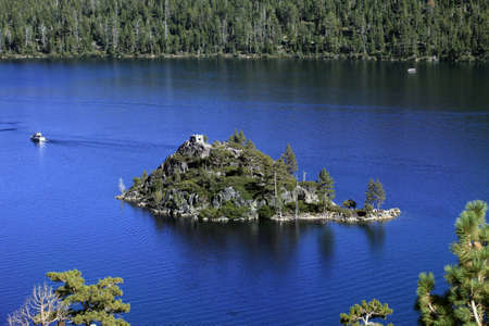 fannette: Small island in lake of Lake Tahoe Stock Photo