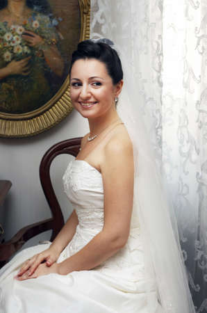 contestant: The beautiful bride pending the groom Stock Photo