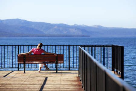 Girl on vacation at a lake Tahoe Stock Photo - 11230380