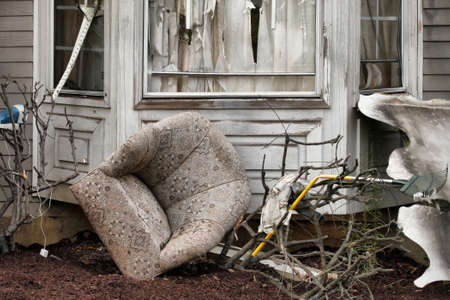 destroy: House damaged by disaster. Scenery for cinema