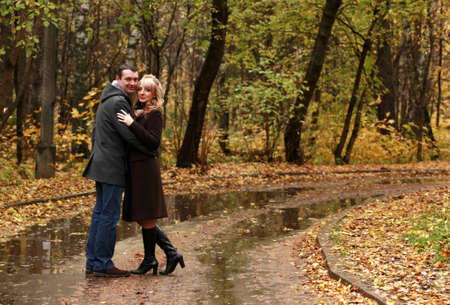 fall protection: The in love pair in autumn park