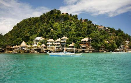 Traditional Philippine boat in a gulf. Island Boracay 版權商用圖片