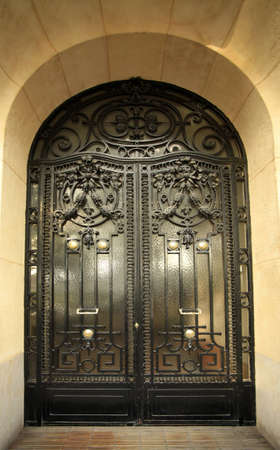 Carved metal door in a building in Paris, France photo