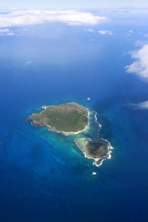 Aerial view of small islands near to island Mauritius