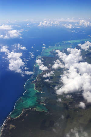 mauritius: Aerial view of Mauritius with clouds Stock Photo