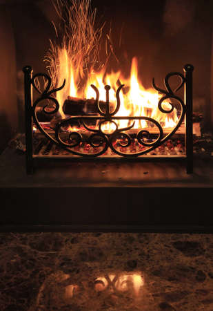 wood burning: Fire with sparks in a beautiful fireplace
