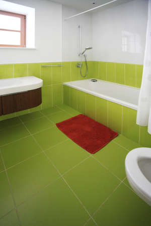 bathroom wall: Interior of a new domestic room with furniture