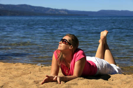 Girl on vacation at a lake Tahoe photo