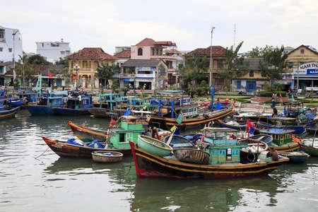 fishing huts: Fishing village on river in Fatien. Vietnam