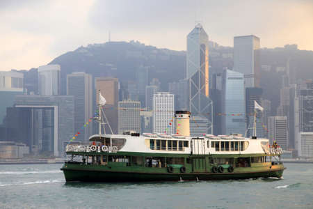 The ferry on a background of city, Hong Kong harbour