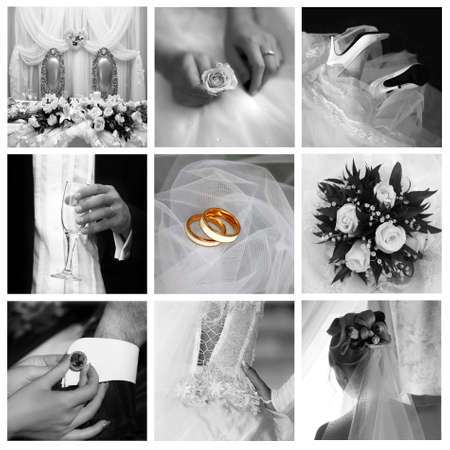Collage of nine wedding photos in gentle