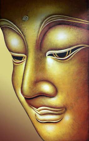 cabeza de buda: Buda figura con textura proceso de fusión