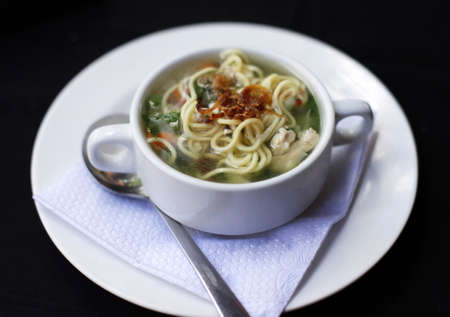 chicken noodle soup: Popular comfort food of chicken noodle soup a favorite in Indonesia