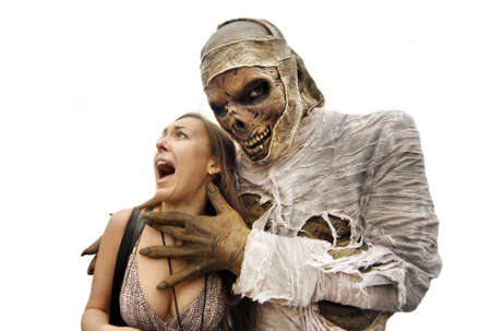 Mummies bandaged and decomposing hand grabs the young woman Stock Photo - 15252351