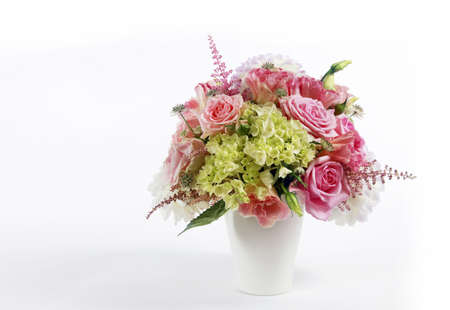 Bouquet alstroemeria, peony and rose on white isolated background photo