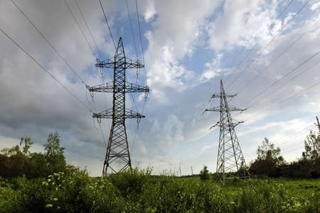 megawatts: The transmission tower on blue sky background