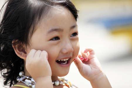 Portrait of the beautiful small Asian girl  Indonesia  Java 版權商用圖片