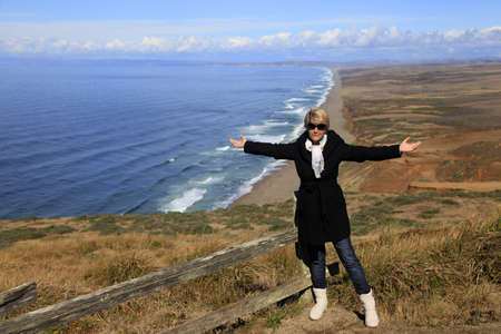 The adult woman at the Point Reyes National seashore in California. Stock Photo - 17041030