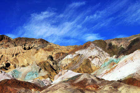 The variegated slopes of Artists Palette in Death Valley, California  Various mineral pigments have colored the volcanic deposits found here  Stock Photo - 17565435