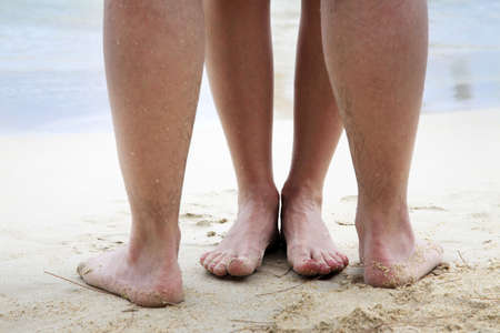 feet in sand: Legs of couple on the sand beach