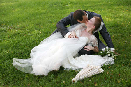 The groom and the bride kiss having closed by a veil Stock Photo - 17632247