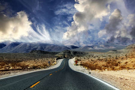 horizon over land: Great American road, crossing a huge Death Valley in Nevada