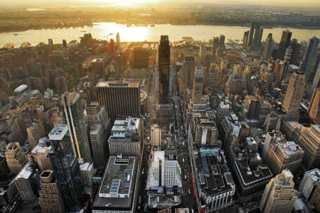congested: New York City Manhattan skyline aerial view