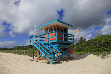 south beach: Colorful lifeguard hut in popular South Beach in Miami.