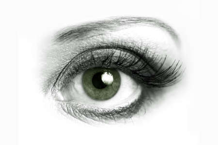 dilate: Beautiful green eye of a woman on a white background Stock Photo