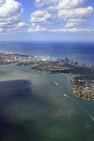 Miami coastline seen from high altitude photo