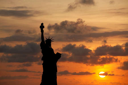 The Statue of Liberty at Sunset, New York City photo