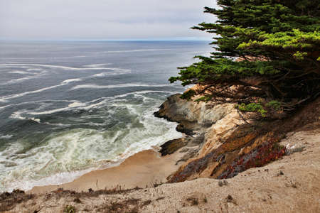 steinbeck: beautiful views of the rocky cliffs and coastline near Half Moon Bay, California  Stock Photo