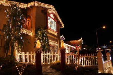 luxury house: Decorated house with christmas lights in San Francisco Stock Photo