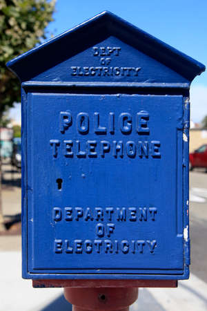 telephone box: This image shows an emergency call box in San Francisco