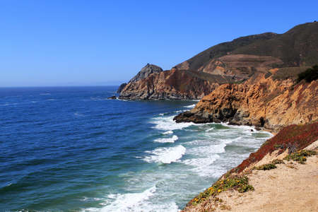 steinbeck: beautiful views of the rocky cliffs and coastline near Half Moon Bay. California