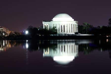 thomas: Thomas Jefferson Memorial silhouette at night with mirror reflection on water, Washington DC United States Editorial