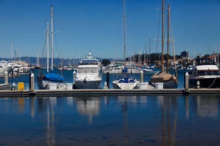 California yacht harbor with the San Francisco skyline in the background photo