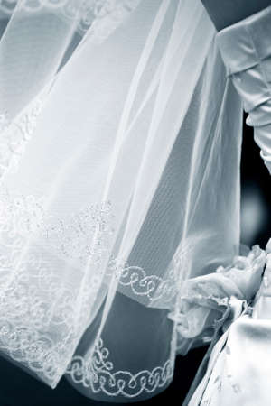 Wedding veil and part of a wedding dress photo