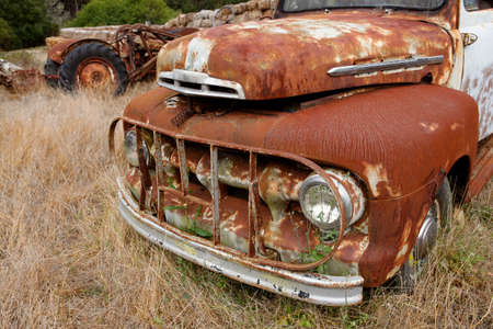 junkyard: Wide angle shot of old rustic truck
