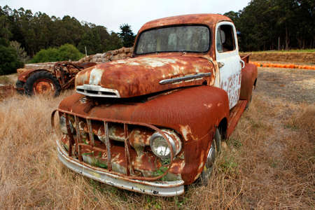 Wide angle shot of old rustic truck