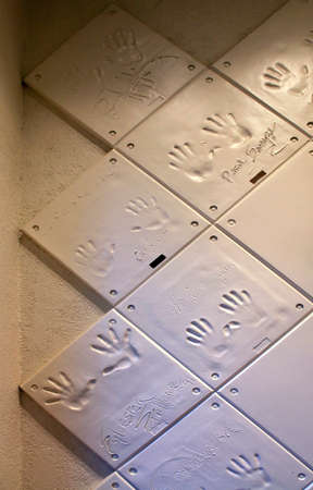 RENO, NEVADA - SEPTEMBER 19: Handprints on the wall of famous actors casino in Reno on September 19, 2012. Nevada