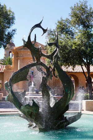 university fountain: STANFORD, CA, USA - SEPTEMBER 17: Fountain on the campus of historic Stanford University in California, 17 September, 2013.