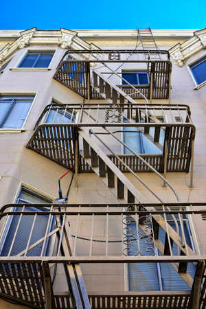 Stairway outside of old building in San Francisco  photo