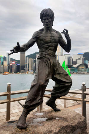 HONG KONG - APRIL 26: Bruce Lee statue at the Avenue of Stars on April 24, 2014, Hong Kong, China.