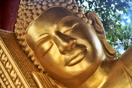 buddha tranquil: Reclining Buddha in temple Wat Krom. Sihanoukville. Cambodia Stock Photo