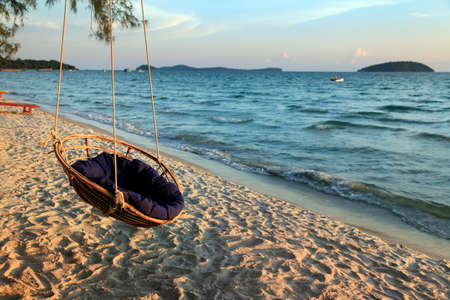 Hammock on the shore of the beach Otres in Sihanoukville. Cambodia photo