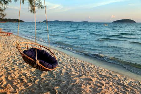 Hammock on the shore of the beach Otres in Sihanoukville. Cambodia