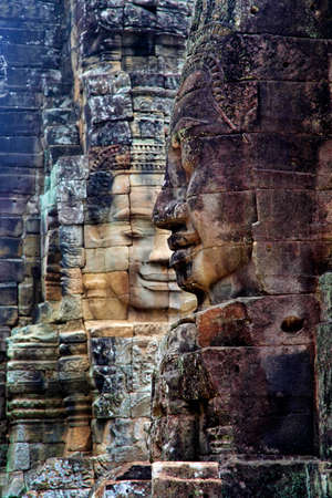 murals: Stone murals and sculptures in Bayon Temple of Angkor Thom. Cambodia
