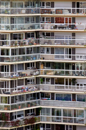 public house: Public big apartment building in Paris  France Stock Photo